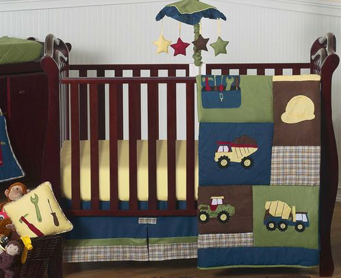 Construction Zone Baby Bedding - 11pc Crib Set - Click to enlarge