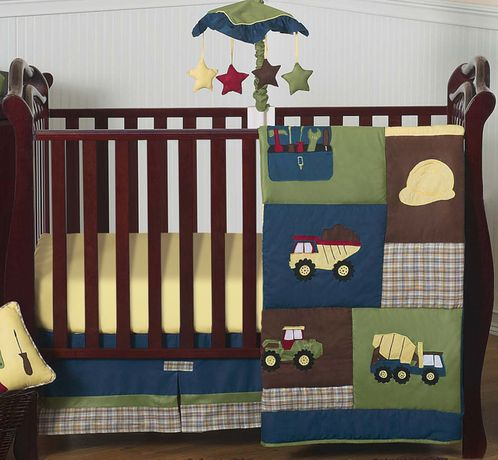 Construction Zone Baby Bedding - 4pc Crib Set - Click to enlarge