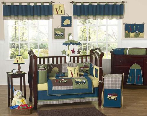 Construction Zone Baby Bedding - 9 pc Crib Set - Click to enlarge