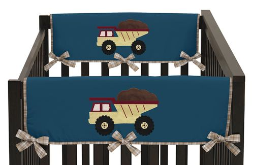 Construction Zone Baby Crib Side Rail Guard Covers by Sweet Jojo Designs - Set of 2 - Click to enlarge