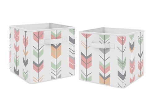 Coral and Mint Woodland Mod Arrow Foldable Fabric Storage Cube Bins Boxes Organizer Toys Kids Baby Childrens for Collection by Sweet Jojo Designs - Set of 2 - Click to enlarge