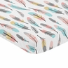 Coral and Turquoise Baby Fitted Mini Portable Crib Sheet for Feather Collection by Sweet Jojo Designs