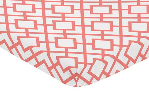 Coral and White Baby Fitted Mini Portable Crib Sheet for Mod Diamond Collection by Sweet Jojo Designs - Click to enlarge