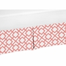 Coral and White Crib Bed Skirt for Mod Diamond Baby Bedding Sets by Sweet Jojo Designs