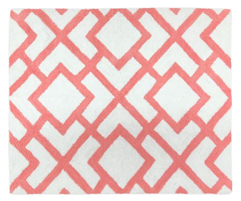 Coral and White Diamond Accent Floor Rug by Sweet Jojo Designs - Click to enlarge