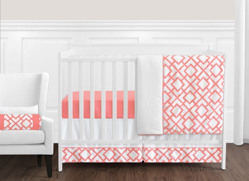 Coral and White Diamond Baby Bedding - 11pc Crib Set by Sweet Jojo Designs - Click to enlarge