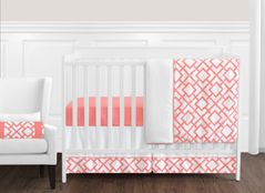 Coral and White Diamond Baby Bedding - 11pc Crib Set by Sweet Jojo Designs