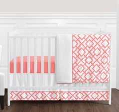Coral and White Diamond Baby Bedding - 4pc Crib Set by Sweet Jojo Designs