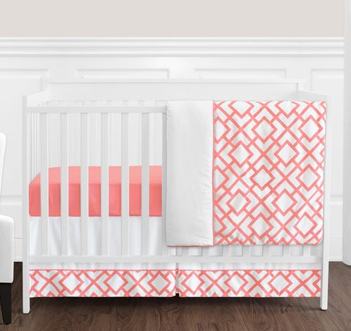 Coral and White Diamond Baby Bedding - 4pc Crib Set by Sweet Jojo Designs - Click to enlarge