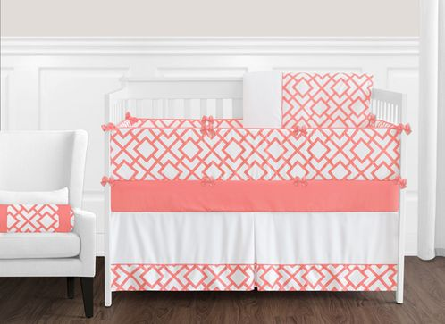 Coral and White Diamond Baby Bedding - 9pc Crib Set by Sweet Jojo Designs - Click to enlarge