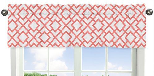 Coral and White Diamond Collection Window Valance by Sweet Jojo Designs - Click to enlarge