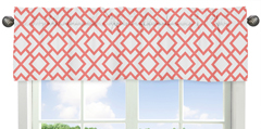 Coral and White Diamond Collection Window Valance by Sweet Jojo Designs