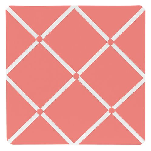 Coral and White Diamond Fabric Memory/Memo Photo Bulletin Board - Click to enlarge