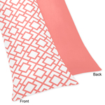 Coral and White Diamond Full Length Double Zippered Body Pillow Case Cover