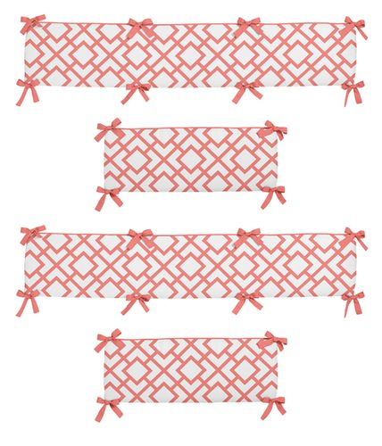 Coral and White Diamond Modern Baby Crib Bumper Pad by Sweet Jojo Designs - Click to enlarge