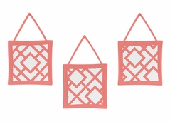 Coral and White Diamond Wall Hanging Accessories by Sweet Jojo Designs