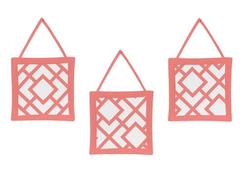 Coral and White Diamond Wall Hanging Accessories by Sweet Jojo Designs - Click to enlarge