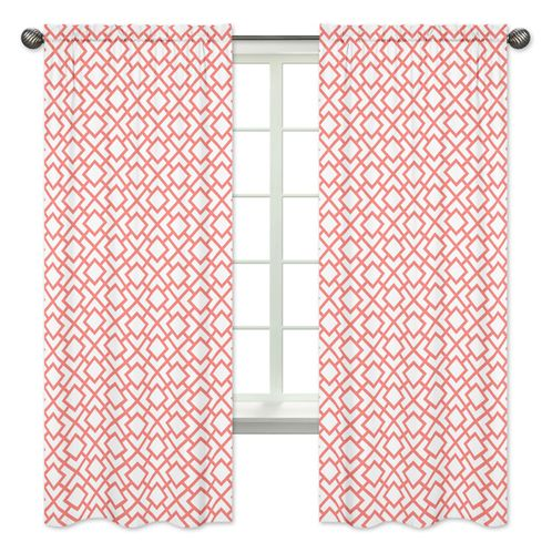 Coral and White Diamond Window Treatment Panels by Sweet Jojo Designs - Set of 2 - Click to enlarge