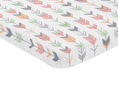 Coral, Grey and Mint Baby Fitted Mini Portable Crib Sheet for Mod Arrow Collection by Sweet Jojo Designs - Click to enlarge