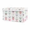Coral, Mint and Grey Woodland Arrow Girl Baby Nursery or Kids Room Small Fabric Toy Bin Storage Box Chest for Woodsy Collection by Sweet Jojo Designs