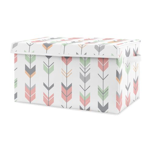 Coral, Mint and Grey Woodland Arrow Girl Baby Nursery or Kids Room Small Fabric Toy Bin Storage Box Chest for Woodsy Collection by Sweet Jojo Designs - Click to enlarge