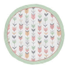 Coral, Mint and Grey Woodland Arrow Playmat Tummy Time Baby and Infant Play Mat for Woodsy Collection by Sweet Jojo Designs