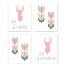 Coral, Mint and Grey Woodland Deer Wall Art Prints Room Decor for Baby, Nursery, and Kids for Woodsy Collection by Sweet Jojo Designs - Set of 4 - Seek Adventure Have Courage