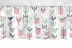 Coral, Mint and Grey Woodland Girl Ruffled Tiered Baby Crib Bed Skirt Dust Ruffle for Mod Arrow Collection by Sweet Jojo Designs