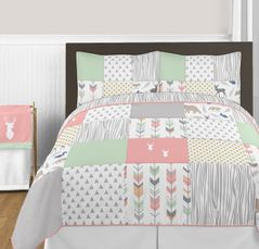 Coral, Mint and Grey Woodsy Deer 3pc Girl Full / Queen Bedding Set by Sweet Jojo Designs
