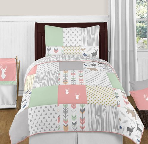 Coral, Mint and Grey Woodsy Deer 4pc Twin Girl Bedding Set by