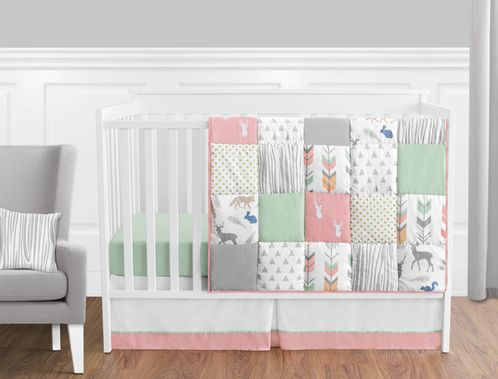 Coral, Mint and Grey Woodsy Deer Baby Bedding - 11pc Girls Crib Set by Sweet Jojo Designs - Click to enlarge