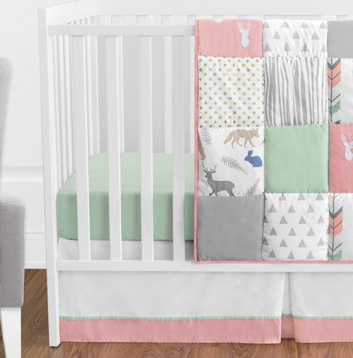 C Mint And Grey Woodsy Deer Baby, Woodsy Crib Bedding
