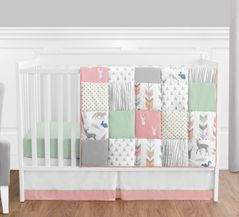 Coral, Mint and Grey Woodsy Deer Baby Bedding - 4pc Girls Crib Set by Sweet Jojo Designs