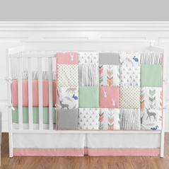 Coral, Mint and Grey Woodsy Deer Baby Bedding - 9pc Girls Crib Set by Sweet Jojo Designs