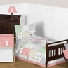 Coral, Mint and Grey Woodsy Deer Girl Toddler Bedding - 5pc Set by Sweet Jojo Designs