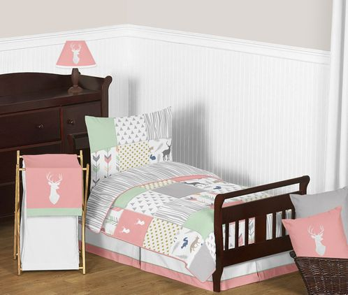 Coral, Mint and Grey Woodsy Deer Girl Toddler Bedding - 5pc Set by Sweet Jojo Designs - Click to enlarge