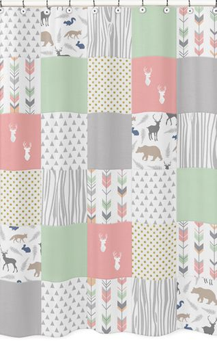 Coral, Mint and Grey Woodsy Kids Bathroom Fabric Bath Shower Curtain by Sweet Jojo Designs - Click to enlarge