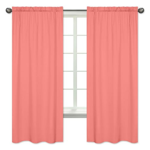Coral Window Treatment Panels for Coral and White Diamond Collection by Sweet Jojo Designs - Set of 2 - Click to enlarge