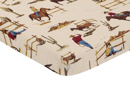 Cowboy Western Baby Fitted Mini Portable Crib Sheet for Wild West Collection by Sweet Jojo Designs - Click to enlarge