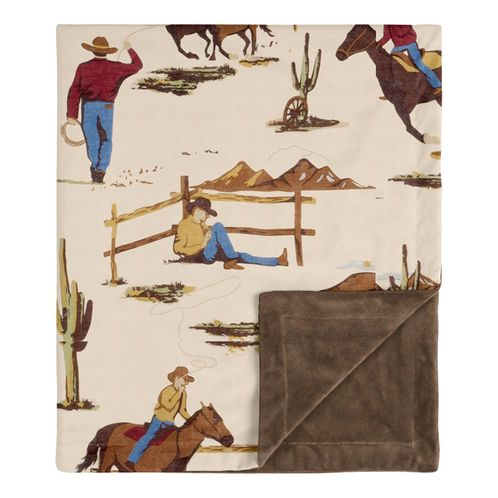 Cowboy Wild West Baby Boy Receiving Security Swaddle Blanket for Newborn or Toddler Nursery Car Seat Stroller Soft Minky by Sweet Jojo Designs - Tan and Red - Click to enlarge