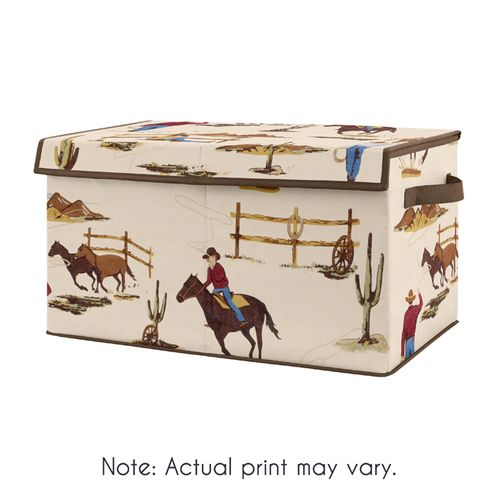 Cowboy Wild West Boy Small Fabric Toy Bin Storage Box Chest For Baby Nursery or Kids Room by Sweet Jojo Designs - Tan and Red Western Southern Country - Click to enlarge