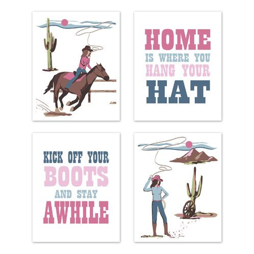 Cowgirl Wall Art Prints Room Decor for Baby, Nursery, and Kids by Sweet Jojo Designs - Set of 4 - Pink Western Southern Country Horse - Click to enlarge