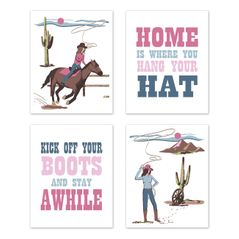 Cowgirl Wall Art Prints Room Decor for Baby, Nursery, and Kids by Sweet Jojo Designs - Set of 4 - Pink Western Southern Country Horse