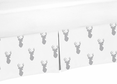 Crib Bed Skirt for Grey and White Woodland Deer Baby Bedding Sets