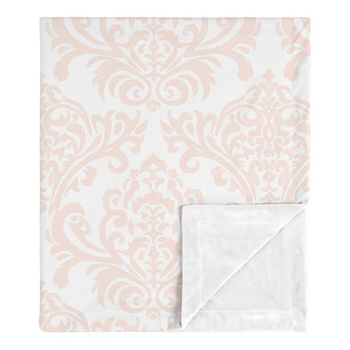 Damask Baby Girl Receiving Security Swaddle Blanket for Newborn or Toddler Nursery Car Seat Stroller Soft Minky by Sweet Jojo Designs - Blush Pink and White Amelia Collection - Click to enlarge