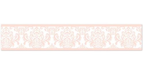Damask Childrens and Kids Wall Paper Border for Blush Pink, Gold and White Amelia Bedding Collection - Click to enlarge