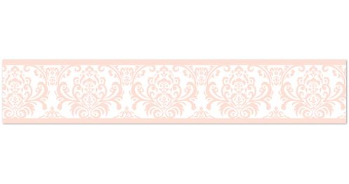 Damask Childrens and Kids Wall Paper Border for Blush Pink, Gold and White  Amelia Bedding Collection