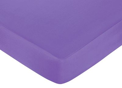 Danielle's Daisies Fitted Crib Sheet for Baby and Toddler Bedding Sets by Sweet Jojo Designs - Solid Dark Purple - Click to enlarge