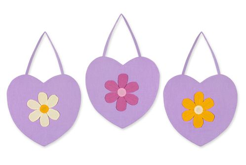 Danielle's Purple Daisies Wall Hanging Art Decor 3 Piece Set - Click to enlarge