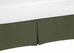 Dark Green Boy Baby Crib Bed Skirt Nursery Dust Ruffle by Sweet Jojo Designs - Solid Color Hunter Forest Olive for Rustic Woodland Camo Deer Collection